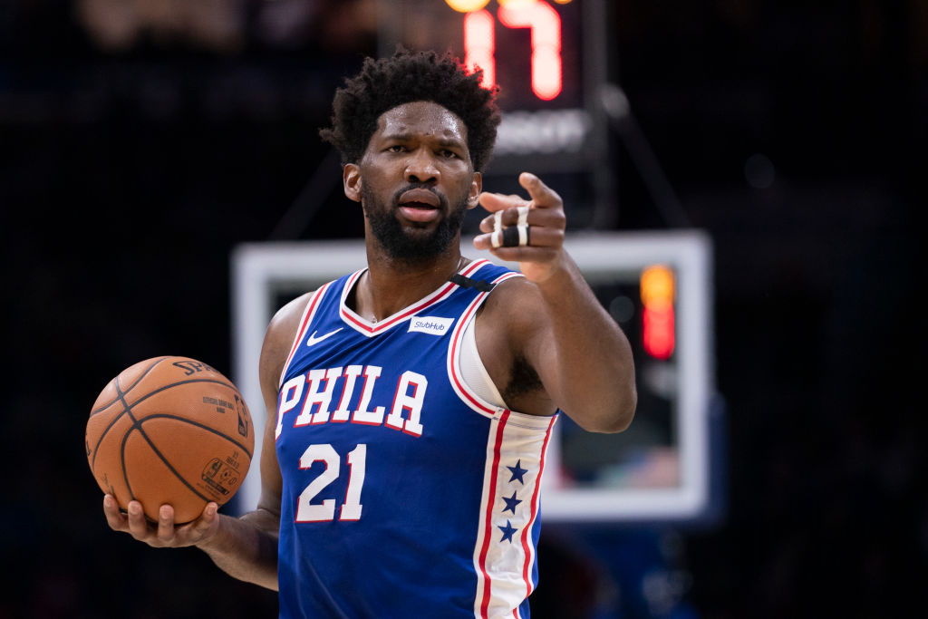 PHILADELPHIA, PA - JANUARY 06: Joel Embiid #21 of the Philadelphia 76ers points against the Oklahoma City Thunder in the second quarter at the Wells Fargo Center on January 6, 2020 in Philadelphia, Pennsylvania