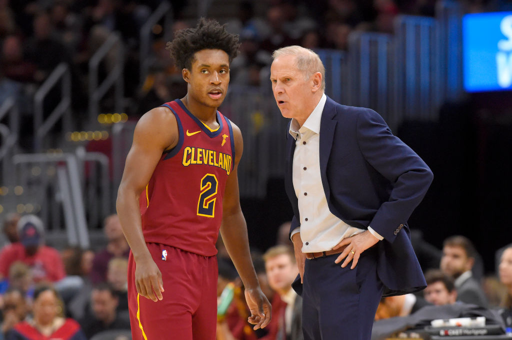CLEVELAND, OHIO - NOVEMBER 17: Collin Sexton #2 talks with head coach John Beilein of the Cleveland Cavaliers during the second half against the Philadelphia 76ers at Rocket Mortgage Fieldhouse on November 17, 2019 in Cleveland, Ohio. The 76ers defeated the Cavaliers 114-95