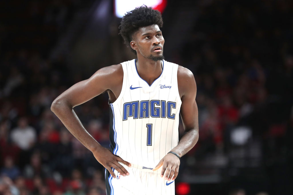 PORTLAND, OREGON - DECEMBER 20: Jonathan Isaac #1 of the Orlando Magic reacts in the third quarter against the Portland Trail Blazers during their game at Moda Center on December 20, 2019 in Portland, Oregon