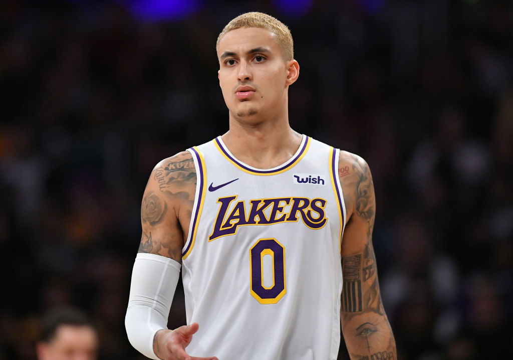 LOS ANGELES, CA - JANUARY 01: Kyle Kuzma #0 of the Los Angeles Lakers dyed his hair blonde before playing the Phoenix Suns at Staples Center on January 1, 2020 in Los Angeles, California. NOTE TO USER: User expressly acknowledges and agrees that, by downloading and/or using this photograph, user is consenting to the terms and conditions of the Getty Images License Agreement. Lakers won 117 to 107