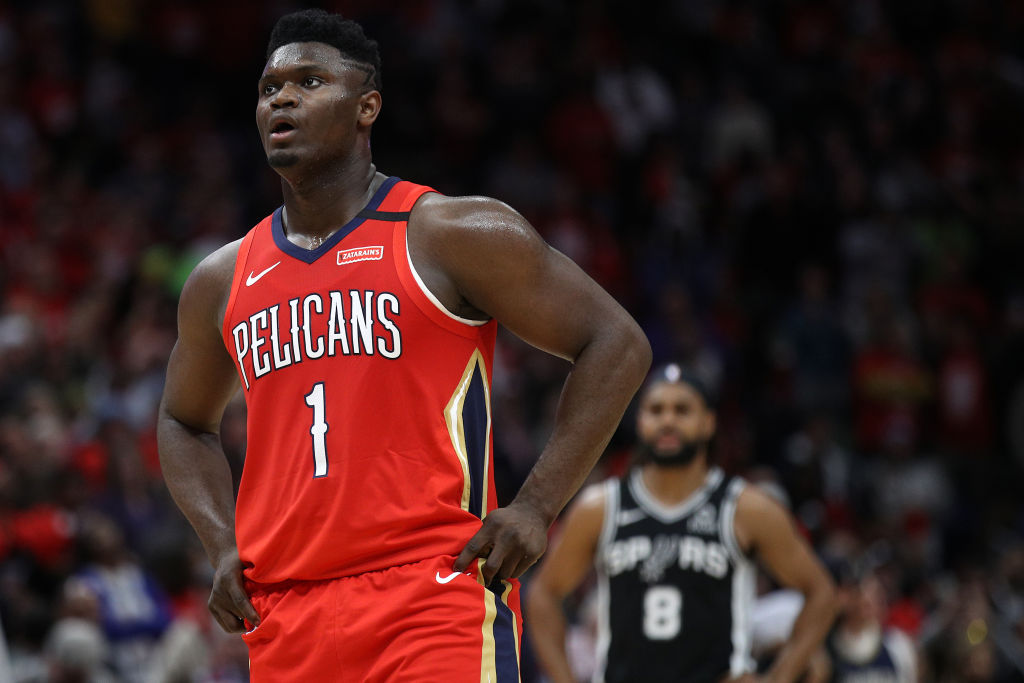 NEW ORLEANS, LOUISIANA - JANUARY 22: Zion Williamson #1 of the New Orleans Pelicans looks on during the game against the San Antonio Spurs at Smoothie King Center on January 22, 2020 in New Orleans, Louisiana