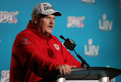 MIAMI, FLORIDA - FEBRUARY 02: Head coach Andy Reid of the Kansas City Chiefs talks to press after defeating San Francisco 49ers by 31 - 20 in Super Bowl LIV at Hard Rock Stadium on February 02, 2020 in Miami, Florida