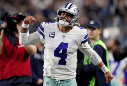 ARLINGTON, TEXAS - DECEMBER 29: Dak Prescott #4 of the Dallas Cowboys reacts in the third quarter against the Washington Redskins in the game at AT&T Stadium on December 29, 2019 in Arlington, Texas