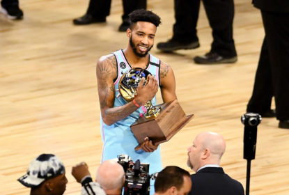 CHICAGO, ILLINOIS - FEBRUARY 15: Derrick Jones Jr. #5 of the Miami Heat celebrates with the trophy after winning the 2020 NBA All-Star - AT&T Slam Dunk Contest during State Farm All-Star Saturday Night at the United Center on February 15, 2020 in Chicago, Illinois
