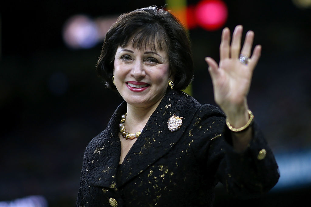 NEW ORLEANS, LA - NOVEMBER 18: Gayle Benson owner of the New Orleans Saints reacts before a game against the Philadelphia Eagles at the Mercedes-Benz Superdome on November 18, 2018 in New Orleans, Louisiana