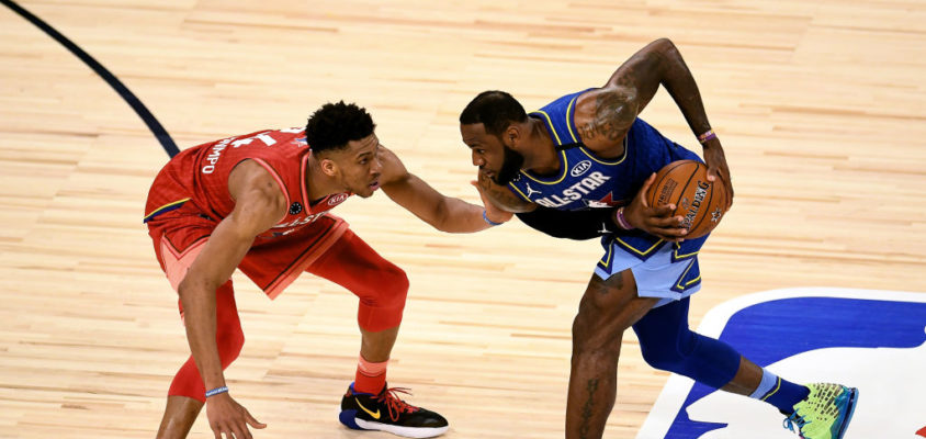 CHICAGO, ILLINOIS - FEBRUARY 16: LeBron James #2 of Team LeBron handles the ball while being guarded by Giannis Antetokounmpo #24 of Team Giannis in the fourth quarter during the 69th NBA All-Star Game at the United Center on February 16, 2020 in Chicago, Illinois.