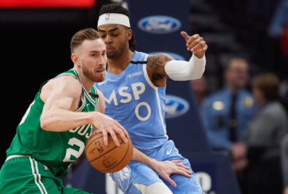 MINNEAPOLIS, MINNESOTA - FEBRUARY 21: D'Angelo Russell #0 of the Minnesota Timberwolves defends against Gordon Hayward #20 of the Boston Celtics during the game at Target Center on February 21, 2020 in Minneapolis, Minnesota