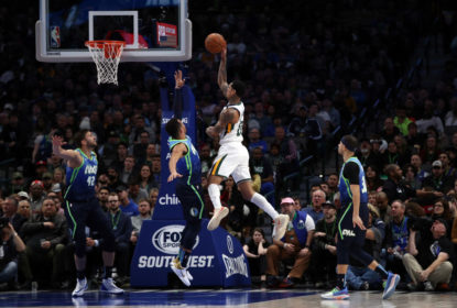 DALLAS, TEXAS - FEBRUARY 10: Jordan Clarkson #00 of the Utah Jazz takes a shot against the Dallas Mavericks in the second half at American Airlines Center on February 10, 2020 in Dallas, Texas