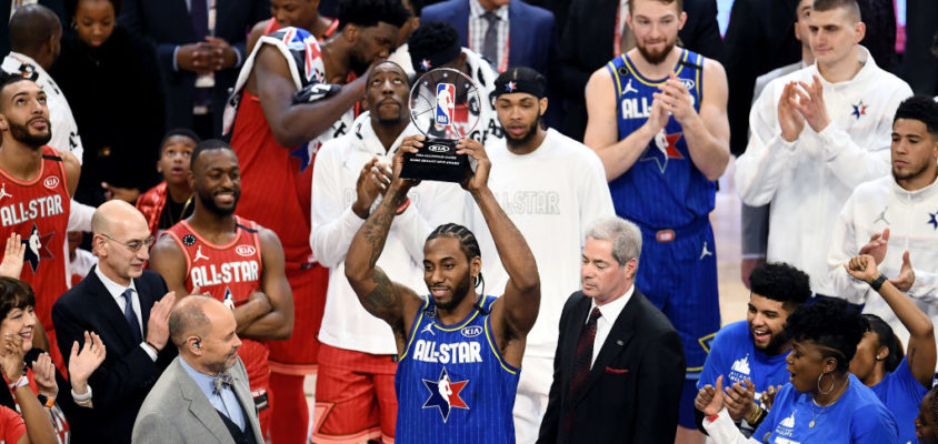CHICAGO, ILLINOIS - FEBRUARY 16: Kawhi Leonard #2 of Team LeBron celebrates with the trophy after being named the Kobe Bryant MVP during the 69th NBA All-Star Game at the United Center on February 16, 2020 in Chicago, Illinois