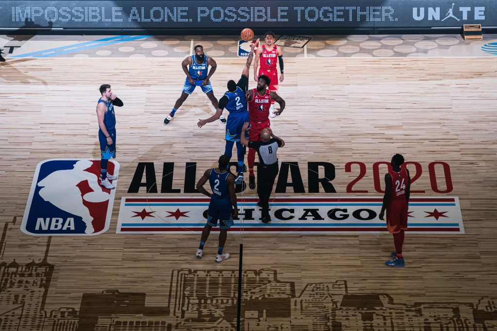 CHICAGO, ILLINOIS - FEBRUARY 16: Joel Embiid #24 of Team Giannis and Anthony Davis #2 of Team LeBron reaches for the ball during the 69th NBA All-Star Game on February 16, 2020 at the United Center in Chicago, Illinois