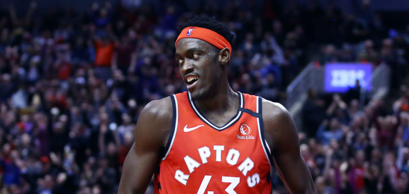 TORONTO, ON - FEBRUARY 10: Pascal Siakam #43 of the Toronto Raptors reacts after sinking a basket during the second half of an NBA game against the Minnesota Timberwolves at Scotiabank Arena on February 10, 2020 in Toronto, Canada