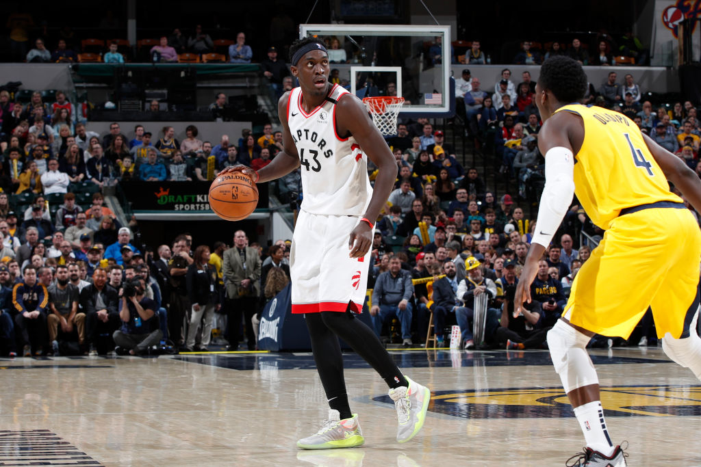 INDIANAPOLIS, IN - FEBRUARY 07: Pascal Siakam #43 of the Toronto Raptors handles the ball during a game against the Indiana Pacers at Bankers Life Fieldhouse on February 7, 2020 in Indianapolis, Indiana. The Raptors defeated the Pacers 115-106