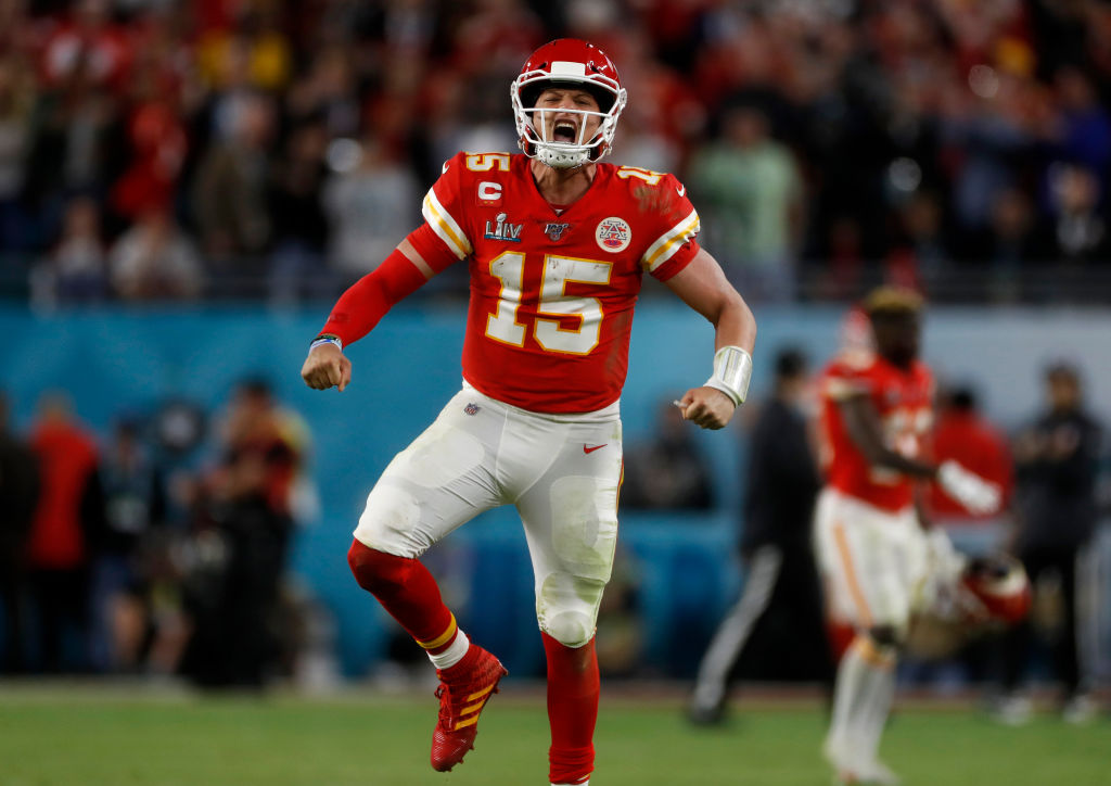 MIAMI GARDENS, FLORIDA - FEBRUARY 2: Kansas City Chiefs starting quarterback Patrick Mahomes (15) celebrates a touchdown against the San Francisco 49ers late in the fourth quarter of Super Bowl LIV at Hard Rock Stadium in Miami Gardens, Fla., on Sunday, Feb. 2, 2020.