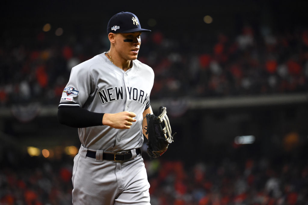 HOUSTON, TX - OCTOBER 19: Aaron Judge #99 of the New York Yankees looks on during Game 6 of the ALCS between the New York Yankees and the Houston Astros at Minute Maid Park on Saturday, October 19, 2019 in Houston, Texas