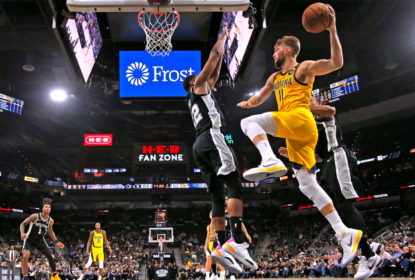 SAN ANTONIO, TX - MARCH 02: Domantas Sabonis #11 of the Indiana Pacers looks to pass as he is cut off by Rudy Gay #22 of the San Antonio Spurs during second half action at AT&T Center on March 02, 2020 in San Antonio, Texas. The Indiana Pacers defeated the San Antonio Spurs 116-111