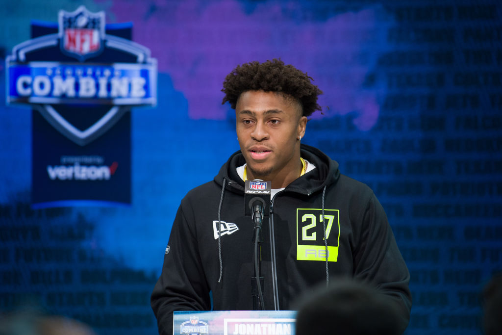 INDIANAPOLIS, IN - FEBRUARY 26: Wisconsin running back Jonathan Taylor answers questions from the media during the NFL Scouting Combine on February 26, 2020 at the Indiana Convention Center in Indianapolis, IN