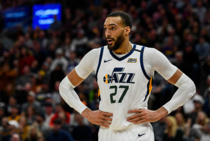 SALT LAKE CITY, UT - JANUARY 25: Rudy Gobert #27 of the Utah Jazz looks on during a game against the Dallas Mavericks at Vivint Smart Home Arena on January 25, 2019 in Salt Lake City, Utah