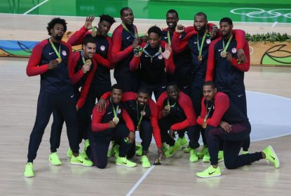RIO DE JANEIRO, BRAZIL - AUGUST 21: 21: The United States Men's Basketball team celebrate with their gold medals after the final match of the Men's basketball between Serbia and United States on day 16 at Carioca Arena 1 in Rio de Janeiro, Brazil on August 21, 2016
