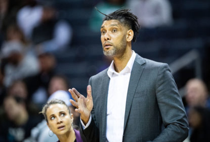CHARLOTTE, NORTH CAROLINA - MARCH 03: Assistant coach Tim Duncan of the San Antonio Spurs reacts during the third quarter of the game against the Charlotte Hornets at Spectrum Center on March 03, 2020 in Charlotte, North Carolina