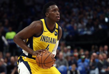 DALLAS, TEXAS - MARCH 08: Victor Oladipo #4 of the Indiana Pacers takes a shot against the Dallas Mavericks at American Airlines Center on March 08, 2020 in Dallas, Texas