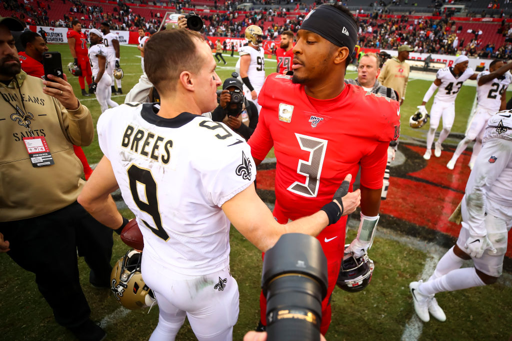 TAMPA, FL - NOVEMBER 17: Jameis Winston #3 of the Tampa Bay Buccaneers shakes hands with Drew Brees #9 of the New Orleans Saints after the game on November 17, 2019 at Raymond James Stadium in Tampa, Florida