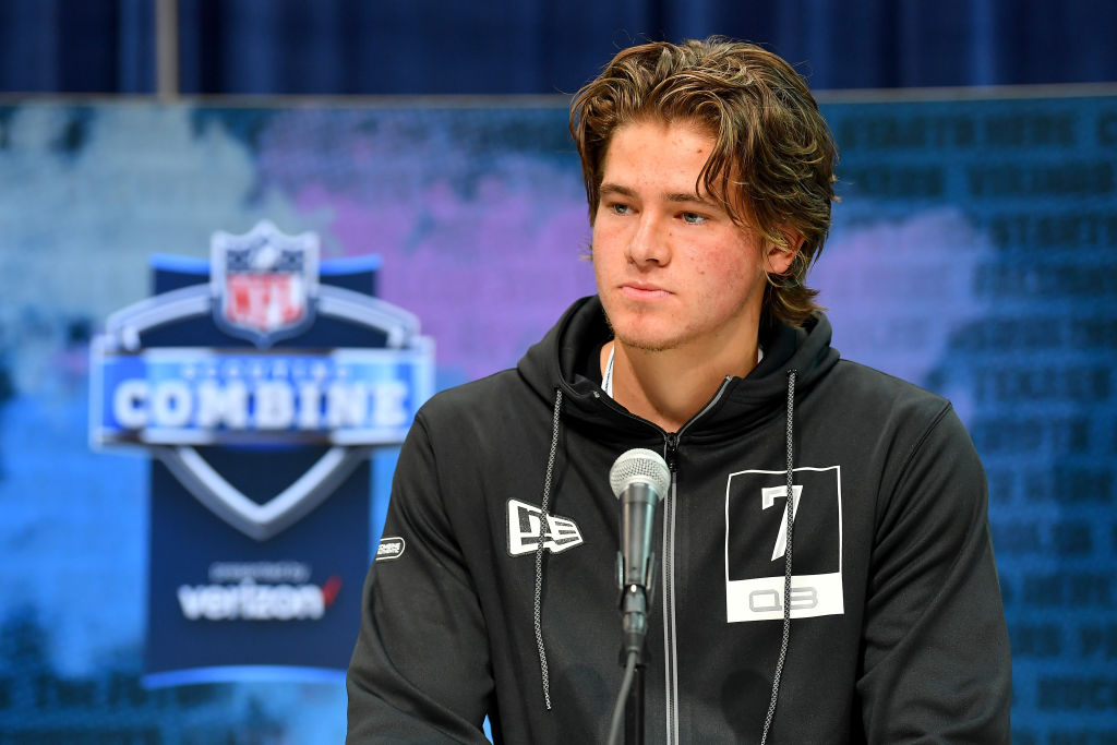 INDIANAPOLIS, INDIANA - FEBRUARY 25: Justin Herbert #QB07 of Oregon interviews during the first day of the NFL Scouting Combine at Lucas Oil Stadium on February 25, 2020 in Indianapolis, Indiana