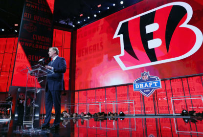 ARLINGTON, TX - APRIL 26: NFL Commissioner Roger Goodell announces a pick by the Cincinnati Bengals during the first round of the 2018 NFL Draft at AT&T Stadium on April 26, 2018 in Arlington, Texas