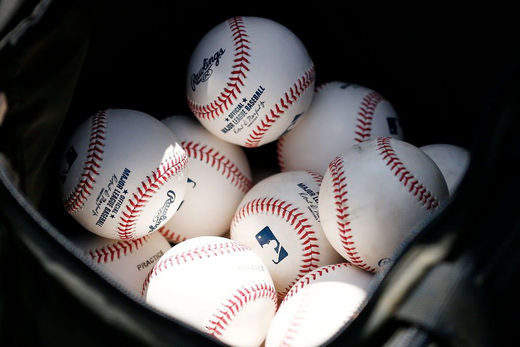 VARIOUS CITIES, - MARCH 12: A detail of baseballs during a Grapefruit League spring training game between the Washington Nationals and the New York Yankees at FITTEAM Ballpark of The Palm Beaches on March 12, 2020 in West Palm Beach, Florida. Many professional and college sports are canceling or postponing their games due to the ongoing threat of the Coronavirus (COVID-19) outbreak