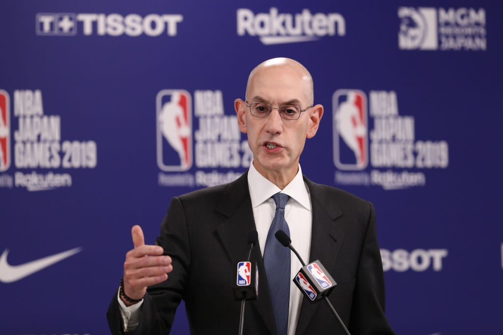 SAITAMA, JAPAN - OCTOBER 08: Commissioner of the National Basketball Association (NBA) Adam Silver speaks during a press conference prior to the preseason game between Houston Rockets and Toronto Raptors at Saitama Super Arena on October 08, 2019 in Saitama, Japan