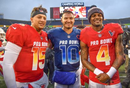 ORLANDO, FL - JANUARY 27: (L-R) Patrick Mahomes #15 of the Kansas City Chiefs, Mitchell Trubisky #10 of the Chicago Bears, and Deshaun Watson #4 of the Houston Texans pose after the 2019 NFL Pro Bowl at Camping World Stadium on January 27, 2019 in Orlando, Florida