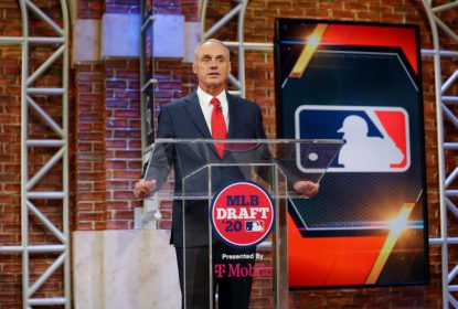 SECAUCUS, NJ - JUNE 10: Major League Baseball Commissioner Robert D. Manfred Jr. makes an opening statement during the 2020 Major League Baseball Draft at MLB Network on Wednesday, June 10, 2020 in Secaucus, New Jersey