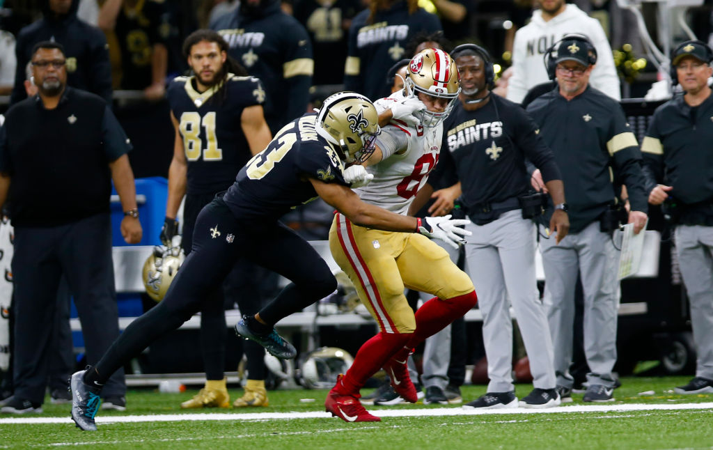 NEW ORLEANS, LA - DECEMBER 8: George Kittle #85 of the San Francisco 49ers runs after making a reception during the game against the New Orleans Saints at the Mercedes-Benz Superdome on December 8, 2019 in New Orleans, Louisiana. The 49ers defeated the Saints 48-46