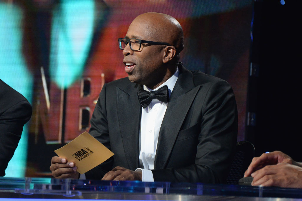 NEW YORK, NY - JUNE 26: TV personality/former NBA player Kenny Smith speaks onstage during the 2017 NBA Awards Live on TNT on June 26, 2017 in New York, New York. 27111_002