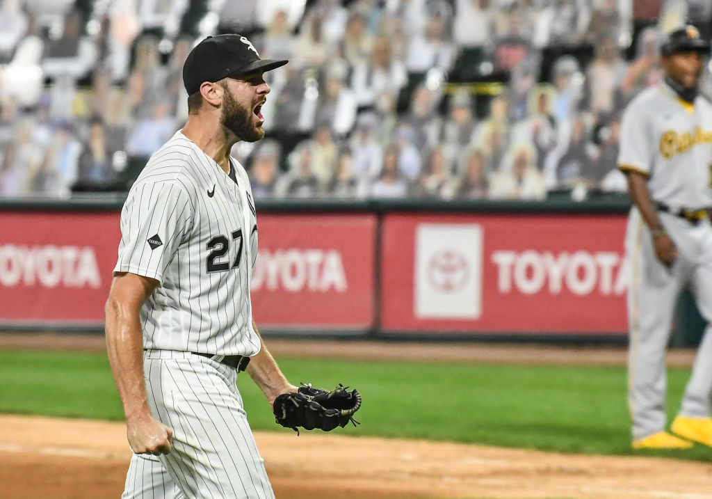 CHICAGO, IL - AUGUST 25: Chicago White Sox pitcher Lucas Giolito (27) celebrates throwing a no-hitter after a Major League Baseball game between the Chicago White Sox and Pittsburgh Pirates on August 25, 2020, at Guaranteed Rate Field, Chicago, IL