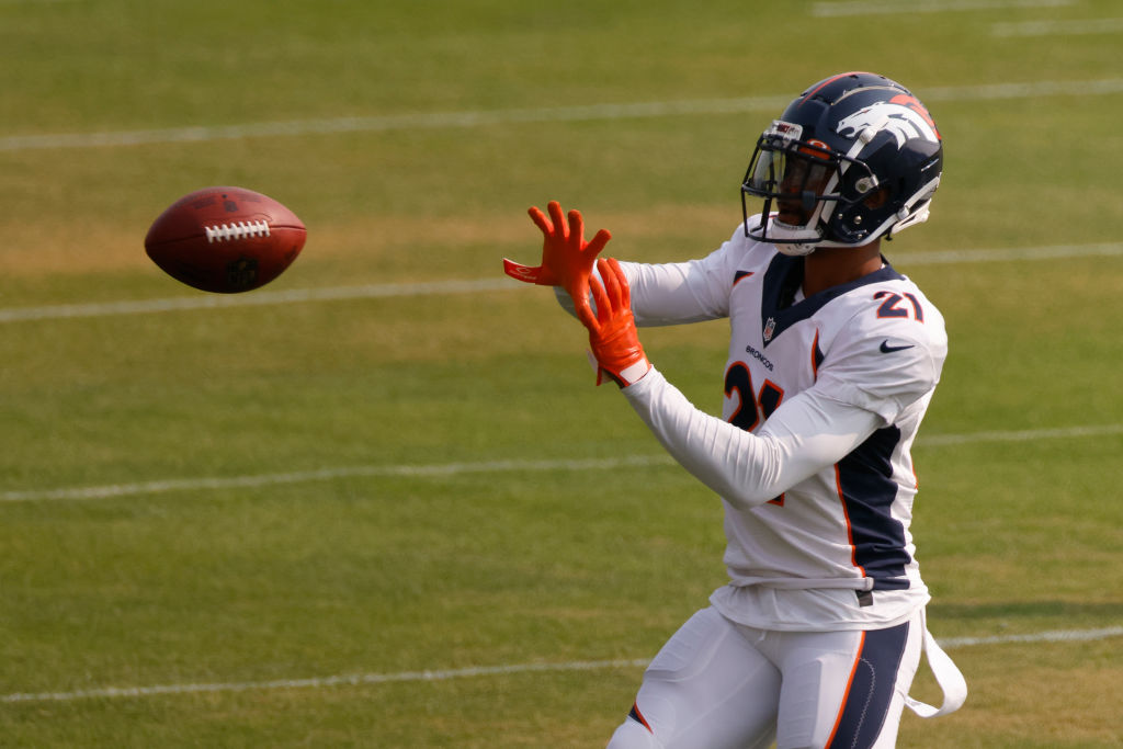 ENGLEWOOD, CO - AUGUST 21: Cornerback A.J. Bouye #21 of the Denver Broncos catches a pass during a training session at UCHealth Training Center on August 21, 2020 in Englewood, Colorado