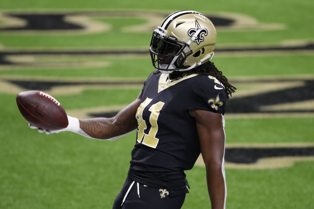 NEW ORLEANS, LOUISIANA - SEPTEMBER 13: Alvin Kamara #41 of the New Orleans Saints scores a touchdown against the Tampa Bay Buccaneers during the second quarter at the Mercedes-Benz Superdome on September 13, 2020 in New Orleans