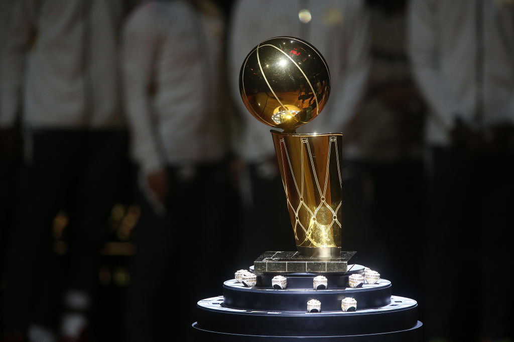 TORONTO, ON- OCTOBER 22 - The Larry O'Brien Trophy surrounded by rings as the Toronto Raptors open the season against the New Orleans Pelicans with a 130-122 overtime win at Scotiabank Arena in Toronto. October 22, 2019.