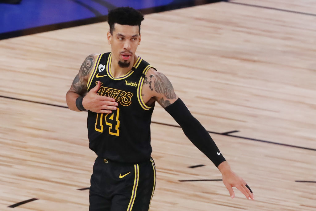 LAKE BUENA VISTA, FLORIDA - OCTOBER 09: Danny Green #14 of the Los Angeles Lakers reacts during the fourth quarter against the Miami Heat in Game Five of the 2020 NBA Finals at AdventHealth Arena at the ESPN Wide World Of Sports Complex on October 9, 2020 in Lake Buena Vista, Florida