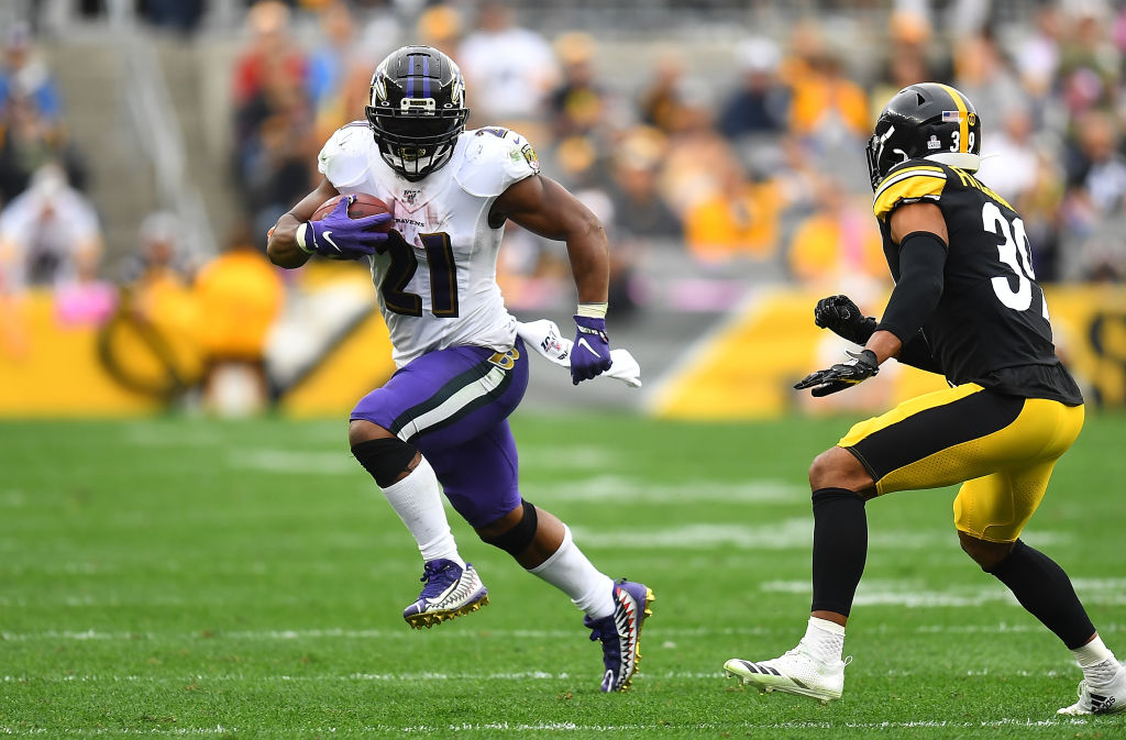PITTSBURGH, PA - OCTOBER 06: Mark Ingram #21 of the Baltimore Ravens in action during the game against the Pittsburgh Steelers at Heinz Field on October 6, 2019 in Pittsburgh, Pennsylvania