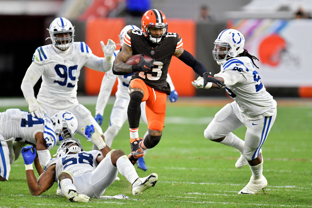 CLEVELAND, OHIO - OCTOBER 11: Odell Beckham Jr. #13 of the Cleveland Browns runs with the ball in the third quarter against the Indianapolis Colts at FirstEnergy Stadium on October 11, 2020 in Cleveland, Ohio