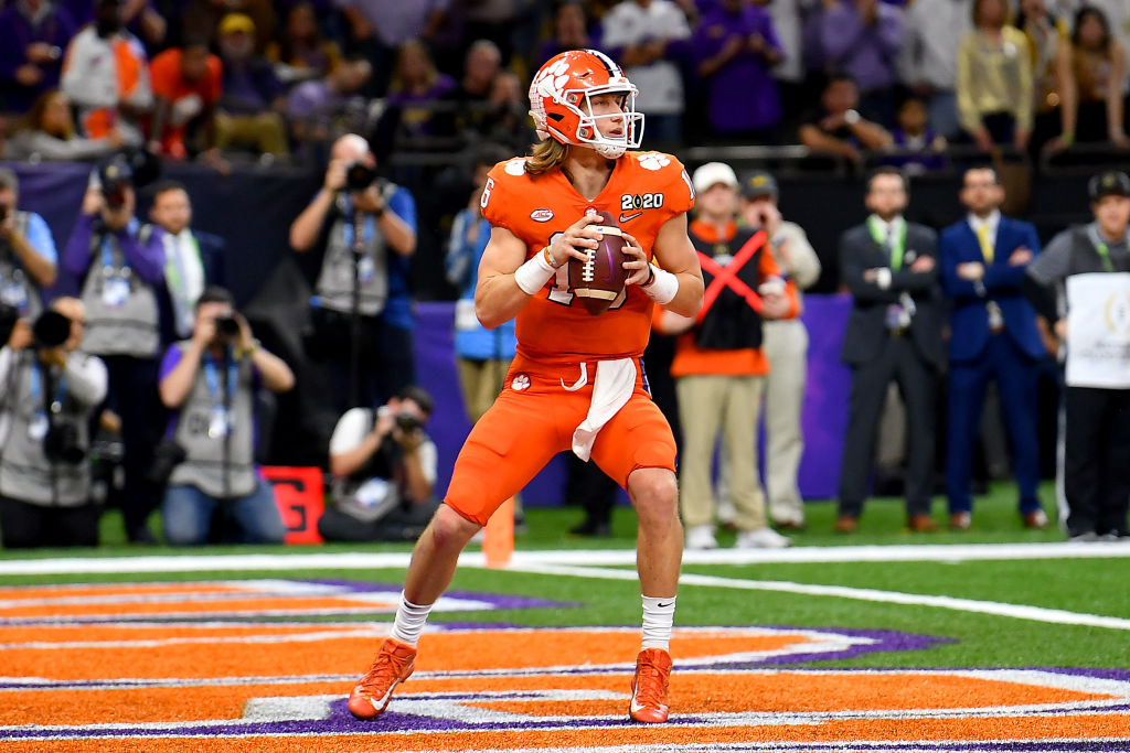 NEW ORLEANS, LOUISIANA - JANUARY 13: Trevor Lawrence #16 of the Clemson Tigers sits in the pocket during the second quarter of the College Football Playoff National Championship game against the LSU Tigers at the Mercedes Benz Superdome on January 13, 2020 in New Orleans, Louisiana. The LSU Tigers topped the Clemson Tigers, 42-25