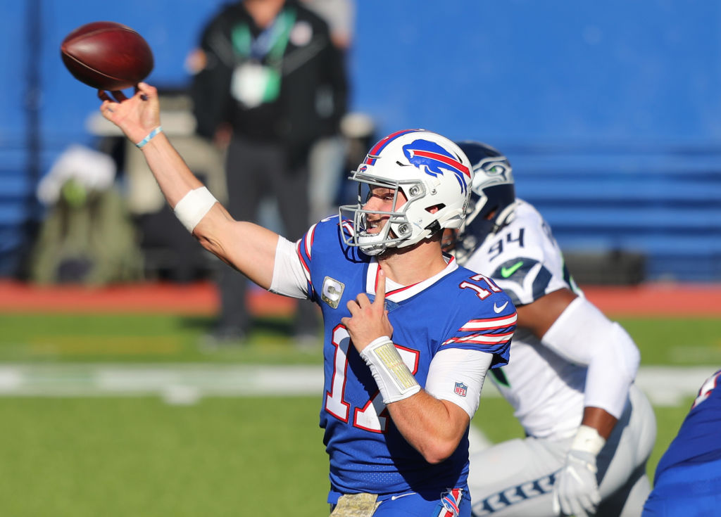 ORCHARD PARK, NEW YORK - NOVEMBER 08: Josh Allen #17 of the Buffalo Bills passes the ball during the first half against the Seattle Seahawks at Bills Stadium on November 08, 2020 in Orchard Park, New York