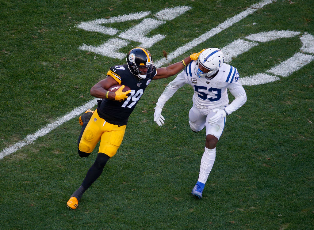 PITTSBURGH, PA - NOVEMBER 03: JuJu Smith-Schuster #19 of the Pittsburgh Steelers in action against the Indianapolis Colts on November 3, 2019 at Heinz Field in Pittsburgh, Pennsylvania