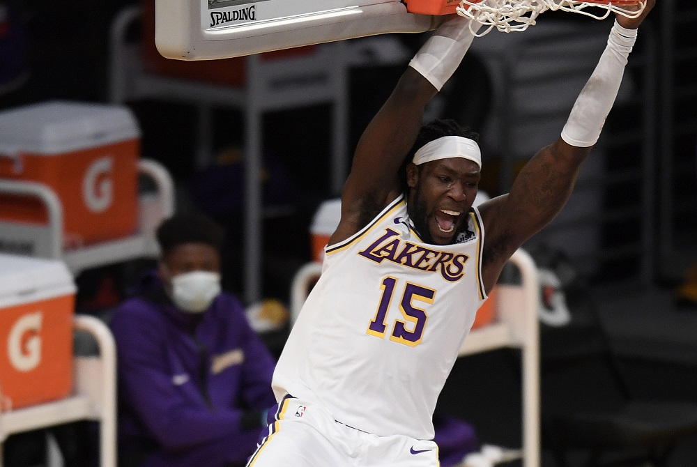 LOS ANGELES, CALIFORNIA - DECEMBER 11: Montrezl Harrell #15 of the Los Angeles Lakers reacts to his dunk during a preseason game against the LA Clippers at Staples Center on December 11, 2020 in Los Angeles, California