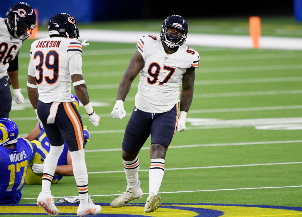 INGLEWOOD, CA - OCTOBER 26: Defensive end Mario Edwards #97 of the Chicago Bears celebrates after tackling wide receiver Robert Woods #17 of the Los Angeles Rams for a loss of yardage during the first half at SoFi Stadium on October 26, 2020 in Inglewood, California