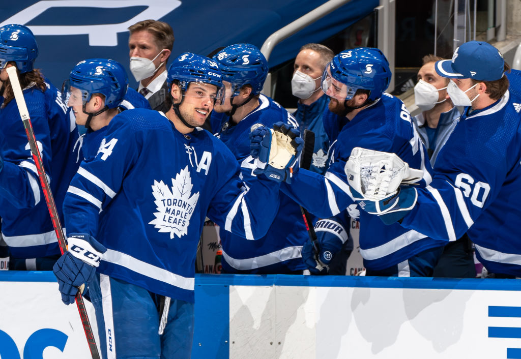 TORONTO, ON - FEBRUARY 18: Auston Matthews #34 of the Toronto Maple Leafs celebrates after scoring on the Ottawa Senators during the first period at the Scotiabank Arena on February 18, 2021 in Toronto, Ontario, Canada