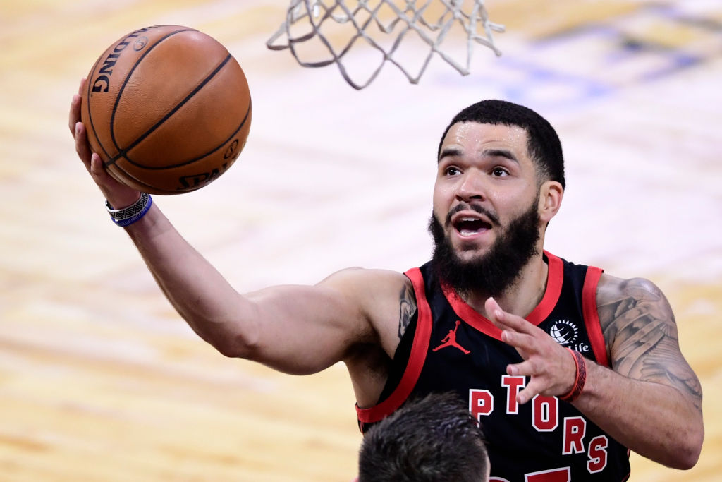 ORLANDO, FLORIDA - FEBRUARY 02: Fred VanVleet #23 of the Toronto Raptors drives to the basket during the third quarter against the Orlando Magic at Amway Center on February 02, 2021 in Orlando, Florida