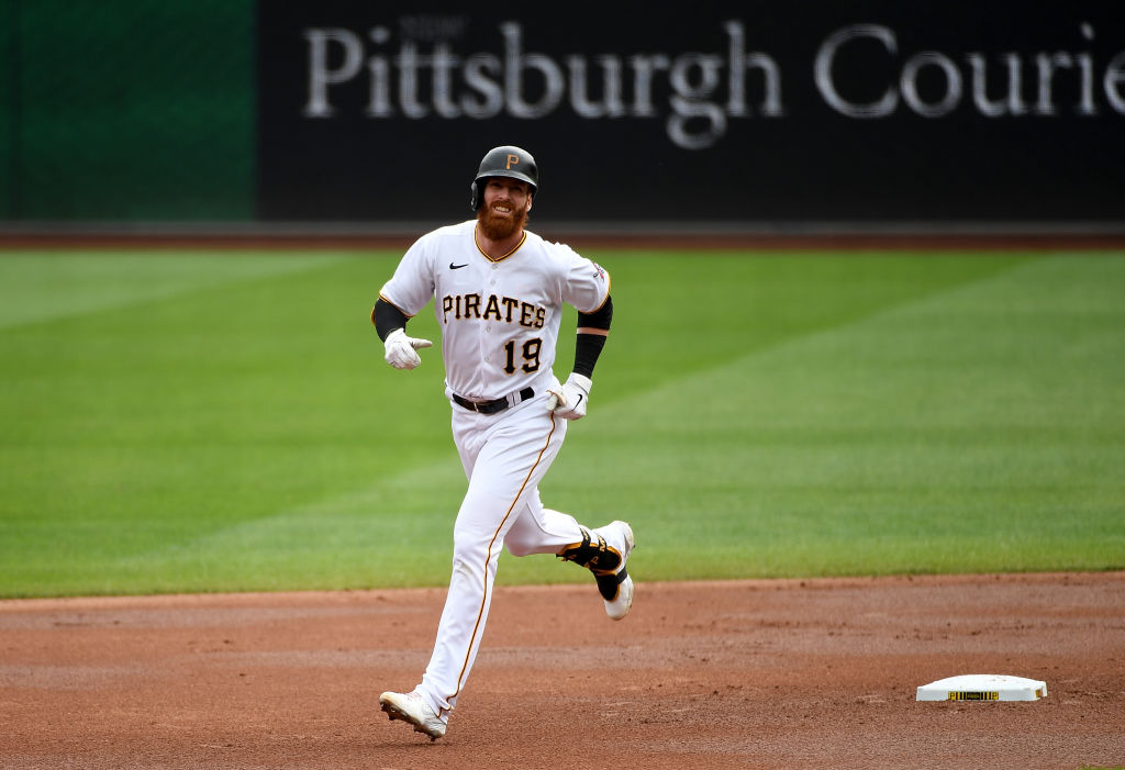 PITTSBURGH, PA - SEPTEMBER 24: Colin Moran #19 of the Pittsburgh Pirates rounds the bases after hitting a solo home run in the first inning during the game against the Chicago Cubs at PNC Park on September 24, 2020 in Pittsburgh, Pennsylvania