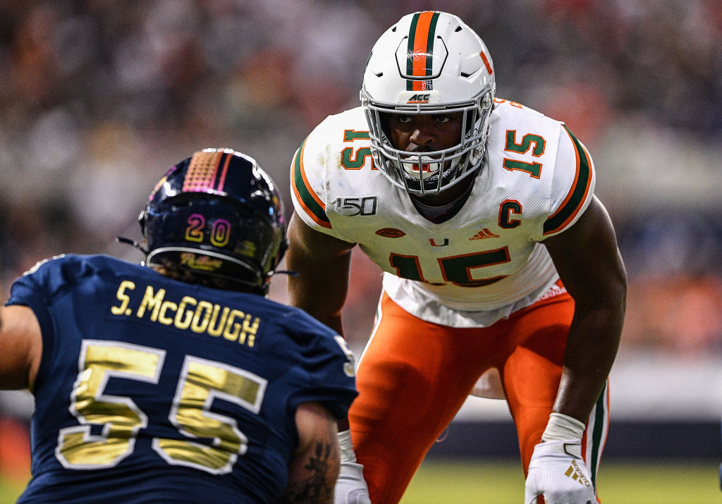 MIAMI, FLORIDA - NOVEMBER 23: Gregory Rousseau #15 of the Miami Hurricanes in action against the FIU Golden Panthers in the first half at Marlins Park on November 23, 2019 in Miami, Florida