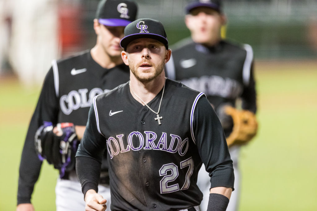SAN FRANCISCO, CA - SEPTEMBER 23: Colorado Rockies shortstop Trevor Story (27) heads back to the dugout after a great play to close the inning during the MLB baseball game between the Colorado Rockies and San Francisco Giants on September 23, 2020 at Oracle Park in San Francisco, CA